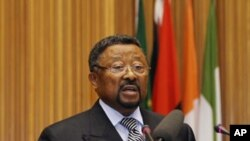 African Union Commission chairman Jean Ping addresses an emergency summit of the AU Peace and Security Council in Ethiopia's capital, Addis Ababa, August 26, 2011.