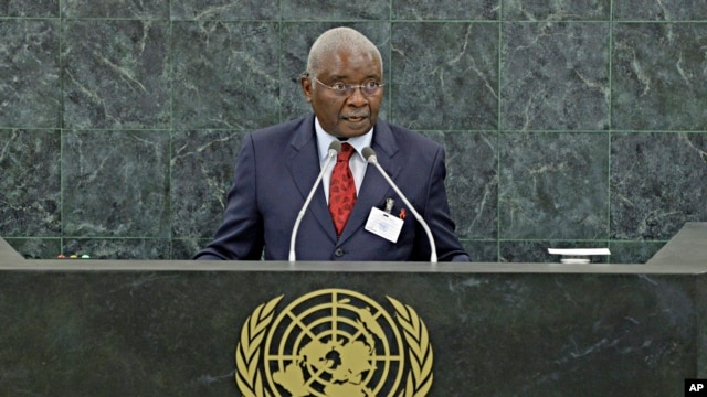 Mozambique's President Armando Emilio Guebuza speaks during his address to the 68th Session of the United Nations General Assembly Sept. 24, 2013.