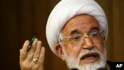 FILE - Iranian opposition leader Mahdi Karroubi, the father of Mohammad Taghi Karroubi and Mohammad Hossein Karroubi, has been under house arrest in Iran since 2011 for supporting protests against the results of the country's 2009 presidential election.