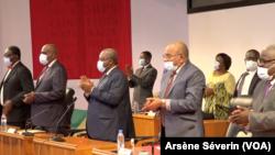 Le PCT investit Sassou N'Guesso candidat à l'élection présidentielle de mars 2021 à Brazzaville, le 8 janvier 2021. (VOA/Arsène Séverin)