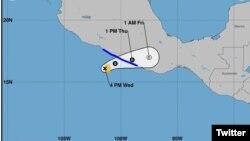 Proyección de trayectoria del huracán Max que tocó tierra el jueves 14 de septiembre en el sur del estado de Guerrero. Imagen: Centro Nacional de Huracanes.