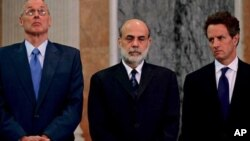 Henry Paulson, Ben Bernanke and Timothy Geithner