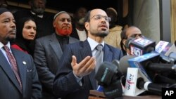 FILE - Nihad Awad, Executive Director of the Council on American-Islamic Relations (CAIR), is seen speaking at a news conference.