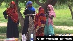 Les éleveurs nomades au bord de la grande voie bitumée en train de vendre le lait caillé, à N'Djamena, le 2 septembre 2017. (VOA/André Kodmadjingar)