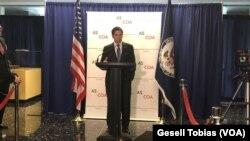 El senador estadounidense Marco Rubio en el cierre del Consejo de las Américas.