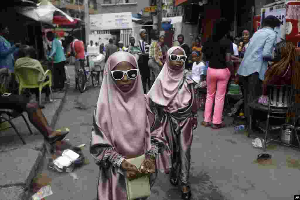 Muslim girls are seen after prayers, in Lagos, Nigeria.