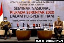 Seminar Pilkada Serentak 2020 dalam Perspektif HAM, oleh Komnas HAM, Selasa, 20 Oktober. (Foto: VOA/Nurhadi Sucahyo)