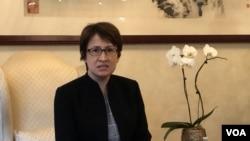 台湾驻美代表萧美琴2020年8月3日在华盛顿双橡园举行上任后首次记者会(美国之音锺辰芳拍摄)