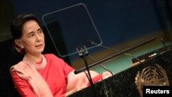Jagorar kasar Myanmar, Aung San Suu Kyi, a wani lokaci da take jawabi a gaban zauren Majalisar Dinkin Duniya