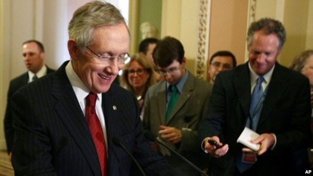 Senate Majority Leader Harry Reid (D-NV) speaks to the media after a closed door meeting with Senate Democrats and Vice President Joseph Biden, at the U.S. Capitol, on August 1, 2011 in Washington, DC.