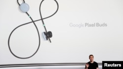 Google product manager Juston Payne speaks about Pixel Buds during a launch event in San Francisco, California, Oct. 4, 2017.