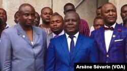 Digne Elvis Tsalissan Okombi, son parti UMP, n'a pas été retenu, le 27 octobre 2020. (VOA/Arsène Séverin)