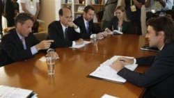 French Finance Minister Francois Baroin, right, and US Treasury Secretary Tim Geithner, left, during talks on Europe's economic situation, in Marseilles, France, on September 9