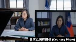 台灣總統蔡英文2021年5月10日對哥本哈根民主峰會發表視頻演說。 (台灣總統府提供)