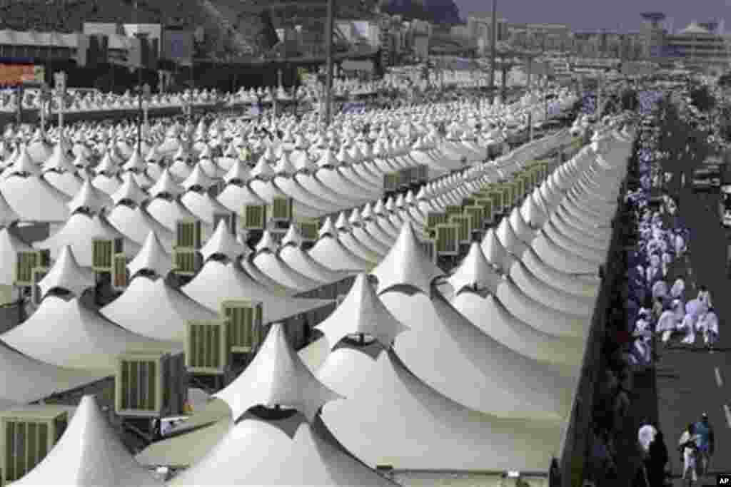 Thousands of tents housing Muslim pilgrims are crowded together in Mina near Mecca, Saudi Arabia, Sunday, Nov. 14, 2010. The annual Islamic pilgrimage draws 2.5 million visitors each year, making it the largest yearly gathering of people in the world.