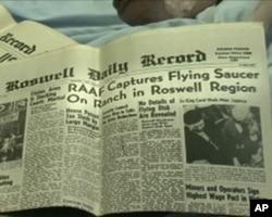 """1947年7月8号""""罗斯威尔纪事报""""的头版"""