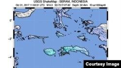 Pusat gempa di sebelah barat-daya Hila, Ambon, Maluku, 31 Oktober 2017.