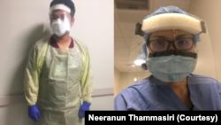 นีรนันท์ ธรรมศิริ ผู้ช่วยแพทย์ผ่าตัด และ สิรภพ ไชยพันธุ์ ผู้ช่วยพยาบาลชาวไทย สวมชุดป้องกันในแผนกผู้ป่วยโควิด-19 ในศูนย์การแพทย์ที่ มอนต์กอเมอรี (Montgomery) ในรัฐแมรีแลนด์