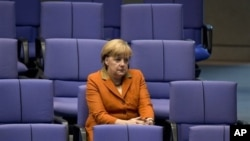 Prior to European Union summit, German Chancellor Angela Merkel at German Federal Parliament, Berlin, Oct. 18, 2012.