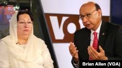美国陆军上尉胡马云·汗的父母希萨尔·汗和加扎拉·汗8月1日在华盛顿接受美国之音采访。(美国之音)