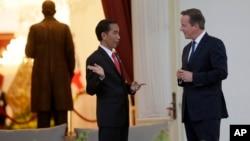 Perdana Menteri Inggris David Cameron (kanan), berbicara dengan Presiden Joko Widodo di Istana Negara, Jakarta (27/7).