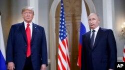 ABŞ prezidenti Donald Tramp və Rusiya prezidenti Vladimir Putin Finlandiya paytaxtı Helsinkidə görüş zamanı, 16 iyul, 2019.