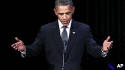 """奥巴马总统9月11日晚在华盛顿肯尼迪中心的""""希望音乐会""""上发表讲话"""