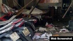 Hiện trường vụ nổ tại trụ sở công an phường 12, quận Tân Bình, ngày 20/6/2018.