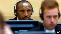 刚果M23反政府武装创建人之一博斯克·恩塔甘达在海牙国际刑事法院出庭受审。(2015年9月2日)