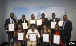 Haitian journalists receive certificates at the end of journalism training at VOA, sponsored by the U.S. Embassy in Haiti.
