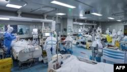 湖北武汉一所医院的医护人员在治疗新冠病人。(2020年2月24日)