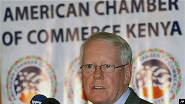 US Ambassador to Kenya Michael Ranneberger speaks during an American Chamber of Commerce quarterly luncheon, in Nairobi, Kenya, Jan 26, 2010 (file photo)
