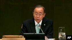 2014年9月23日联合国总部设纽约: 联合国秘书长潘基文在解决气候变化问题首脑会议