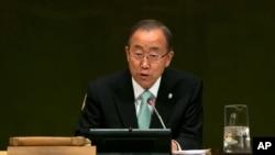 United Nations Secretary-General Ban Ki-moon addresses the Climate Change Summit, at U.N. headquarters in New York, Sept. 23, 2014.