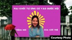 Poster quảng bá cho chiến dịch tự ứng cửa Đại Biểu Quốc Hội của Mai Khôi. (ảnh do Mai Khôi cung cấp).