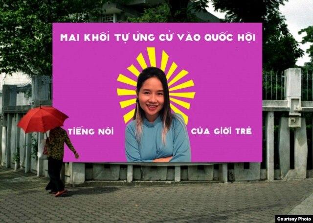Poster quảng bá chiến dịch tự ứng cử Đại Biểu Quốc Hội của Mai Khôi. (ảnh do Mai Khôi cung cấp).