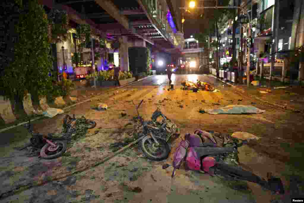 A motorcycle carrying a bomb exploded just outside a Hindu shrine in the center of the Thai capital, killing at least 12 people, police reported, Bangkok, Aug. 17, 2015.