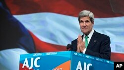 Secretary of State John Kerry speaks at the American Jewish Committee Global Forum in Washington, June 3, 2013.