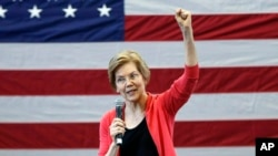 FILE - Sen. Elizabeth Warren, D-Mass., speaks during an organizing event at Manchester Community College in Manchester, N.H. Warren is expected to formally launch her presidential bid on Saturday with a populist call to fight economic inequality, Jan. 12, 2019.
