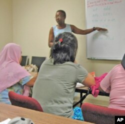 Immigrants attend an English language class at the Refugee Resource Center in Fort Wayne, Indiana.