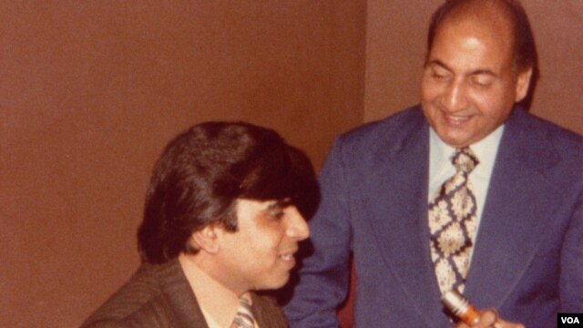 VOA broadcaster, Subhash Vohra (L) interviews the legendary Mohammad Rafi (R) before his 1977 performance at the Royal Albert Hall.