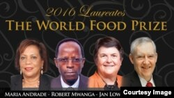 2016 Laureates of The World Food Prize: Maria Andrade, Robert Mwanga, Jan Low, Howarth Bouis (left to right) (Courtesy of The World Food Prize)
