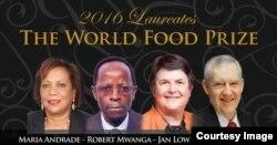 2016 Laureates of The World Food Prize: Maria Andrade, Robert Mwanga, Jan Low, Howarth Bouis (left to right) (Courtesy of The World Food Prize)