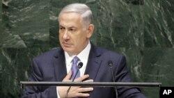 Benjamin Netanyahu, Perdana Menteri Israel, berbicara dalam Sidang Umum PBB ke-69 di New York (29/9). (AP/Seth Wenig)