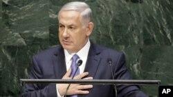 PM Israel Benjamin Netanyahu saat menyampaikan pidatonya di hadapan Sidang Majelis Umum PBB hari Senin (29/9).