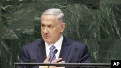 PM Israel Benjamin Netanyahu saat menyampaikan pidato di hadapan Sidang Majelis Umum PBB di New York (29/9).