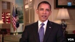 President Barack Obama menyampaikan pidato pada liburan akhir pekan Hari Pahlawan.