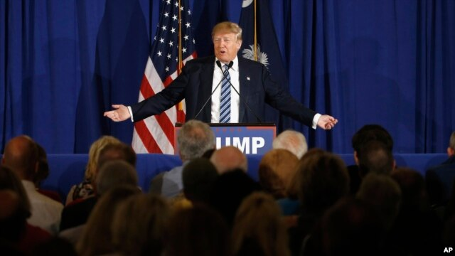 Republican presidential candidate Donald Trump speaks during a campaign stop in Kiawah Island, South Carolina, Feb. 18, 2016.