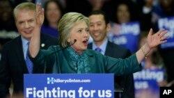 미국 공화당의 힐러리 클린턴 대선 경선 후보가 22일 시애틀 시에서 선거 유세를 하고 있다.
