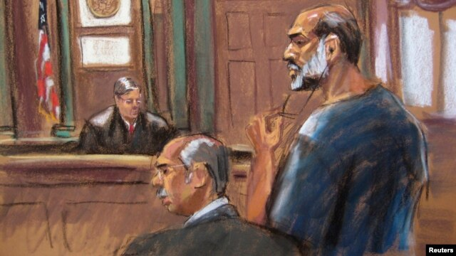 An artist sketch shows Suleiman Abu Ghaith, a militant who appeared in videos as a spokesman for al Qaeda after the September 11, 2001 attacks, appearing at the U.S. District Court in Manhattan, March 8, 2013.